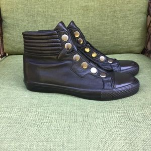 Ash Vespa black leather fashion sneaker.